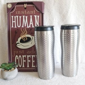 2 Starbucks Stainless Tumblers Travel Mugs Cups